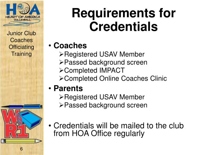 Requirements for Credentials
