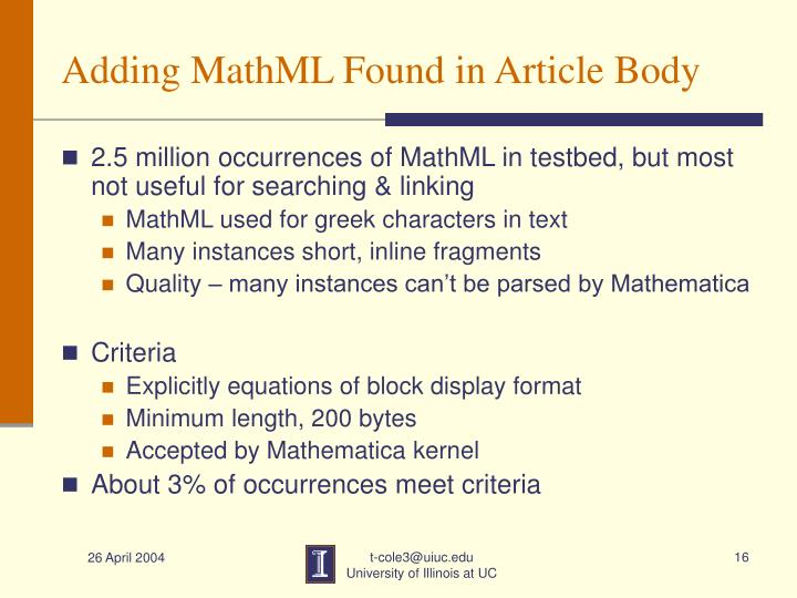 Adding MathML Found in Article Body