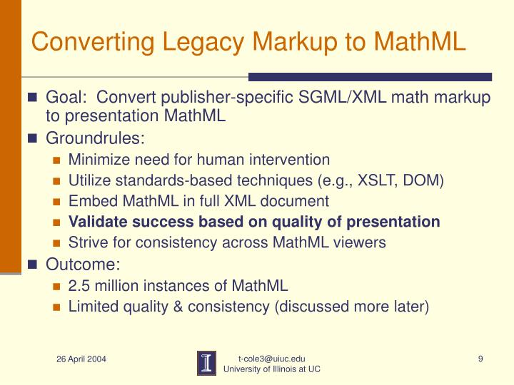Converting Legacy Markup to MathML