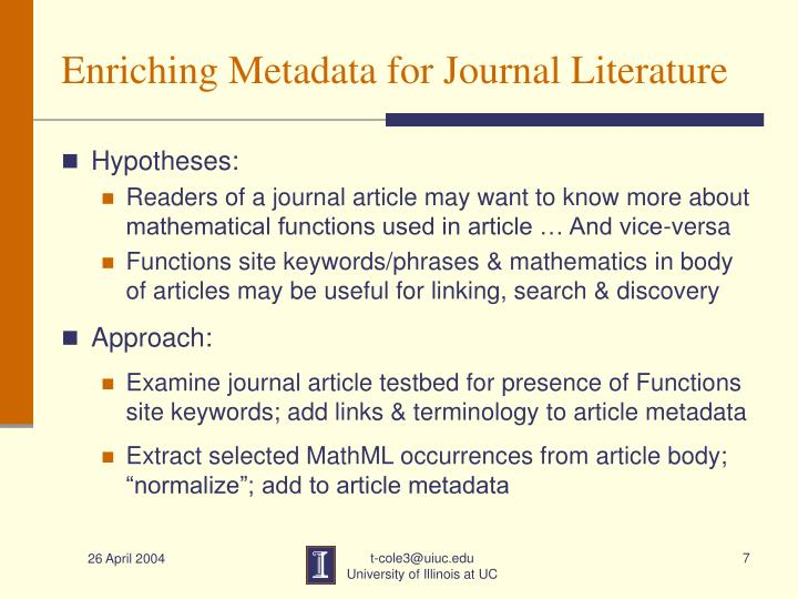 Enriching Metadata for Journal Literature