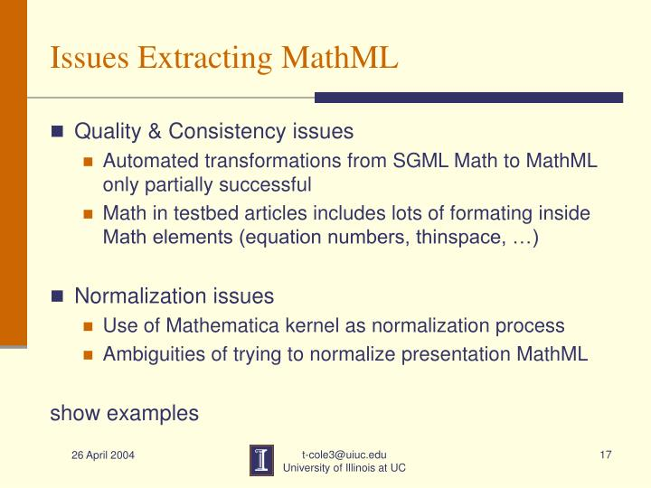 Issues Extracting MathML