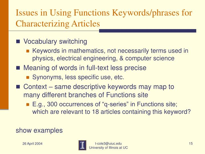 Issues in Using Functions Keywords/phrases for Characterizing Articles