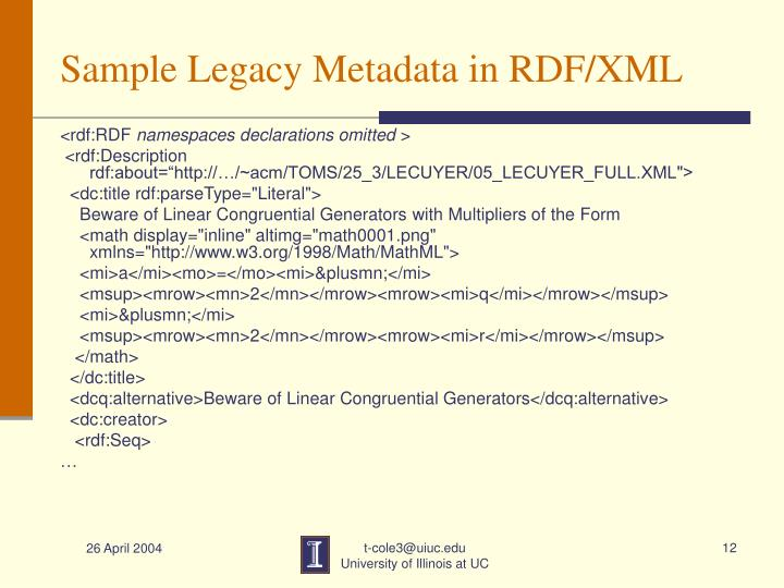 Sample Legacy Metadata in RDF/XML