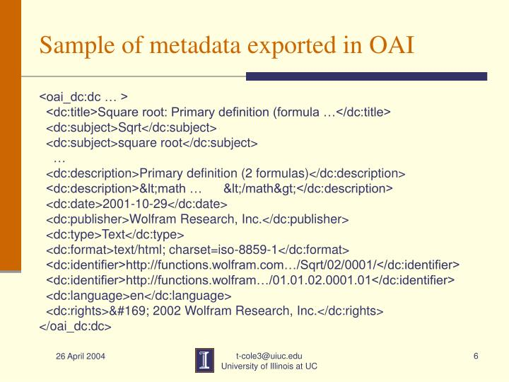 Sample of metadata exported in OAI