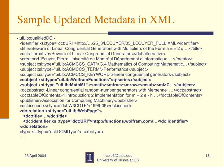 Sample Updated Metadata in XML