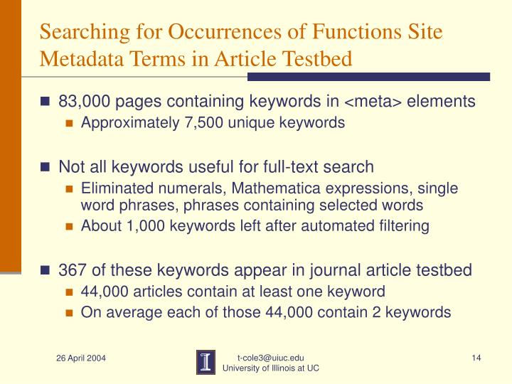 Searching for Occurrences of Functions Site Metadata Terms in Article Testbed