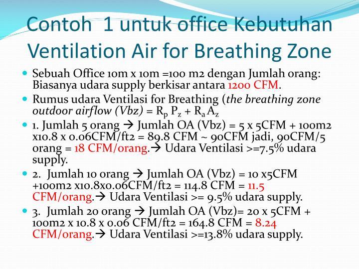Contoh  1 untuk office Kebutuhan Ventilation Air for Breathing Zone