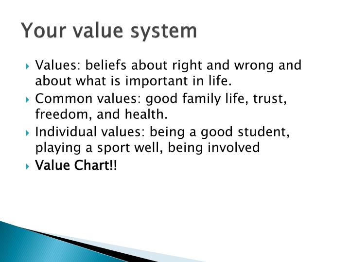 Your value system