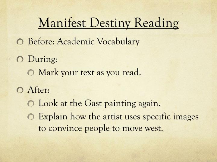 Manifest Destiny Reading
