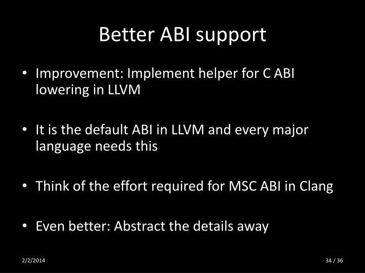 Better ABI support