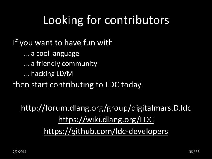 Looking for contributors