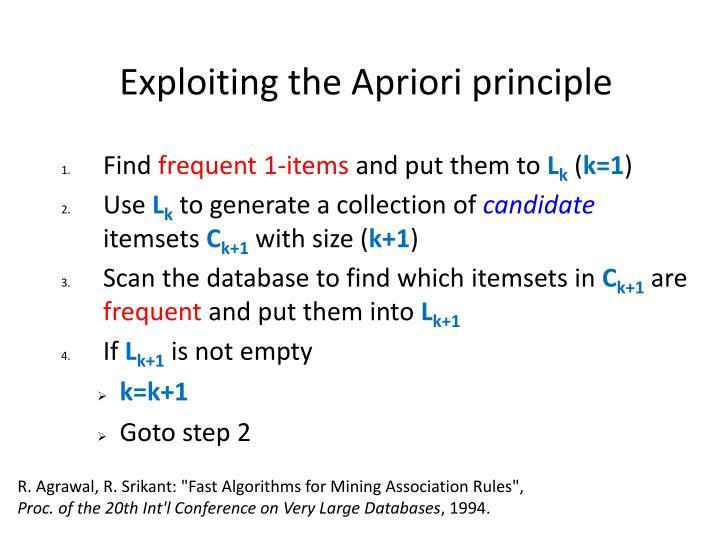 Exploiting the Apriori principle