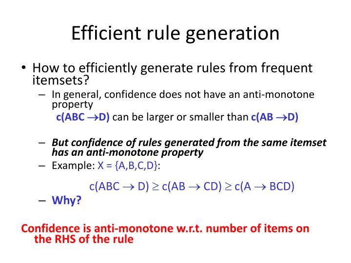 Efficient rule