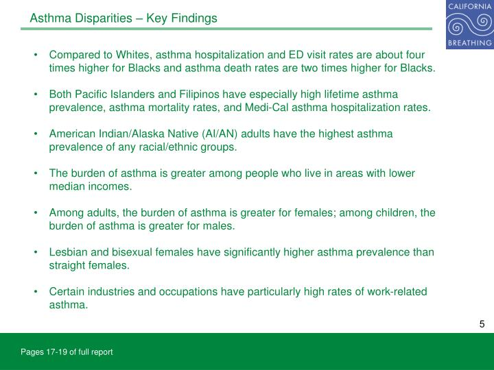 Asthma Disparities – Key Findings