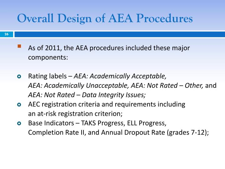 Overall Design of AEA Procedures