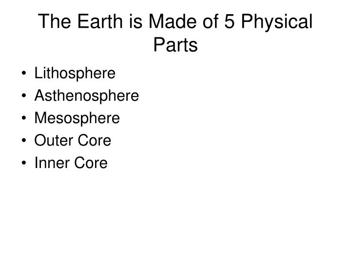 The earth is made of 5 physical parts