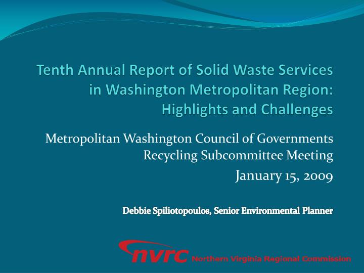 Tenth Annual Report of Solid Waste Services in Washington Metropolitan Region:
