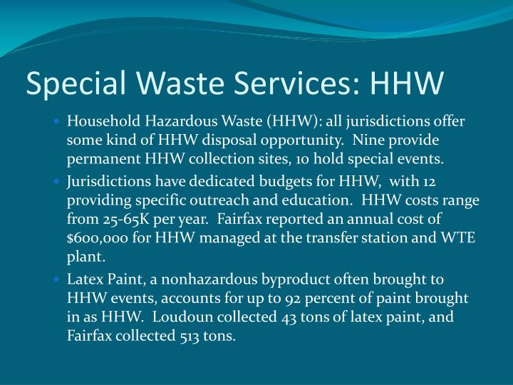 Special Waste Services: HHW