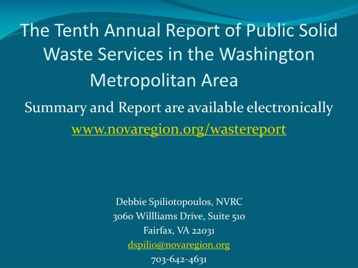 The Tenth Annual Report of Public Solid Waste Services in the Washington Metropolitan Area