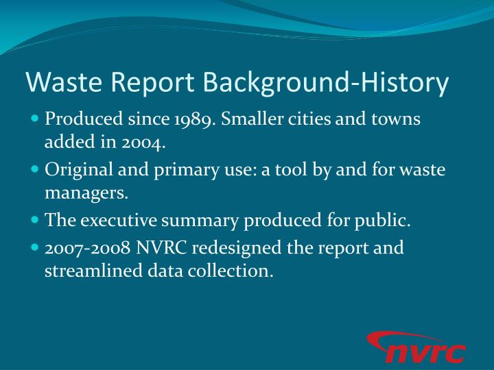 Waste Report Background-History