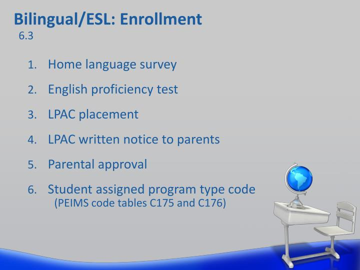Bilingual/ESL: Enrollment