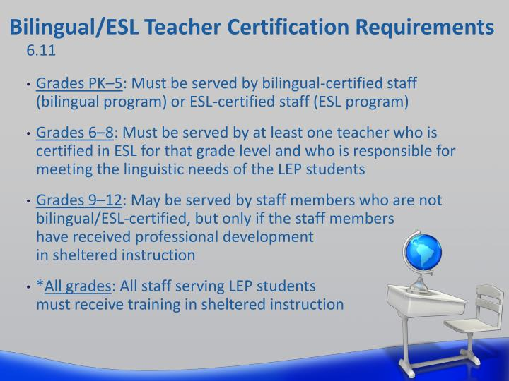 Bilingual/ESL Teacher Certification Requirements