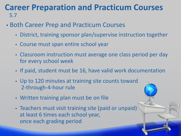 Career Preparation and Practicum Courses