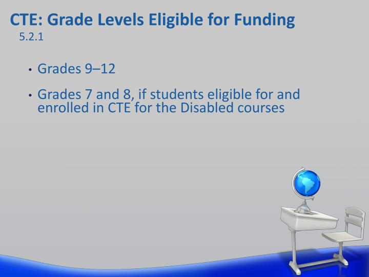 CTE: Grade Levels Eligible for Funding