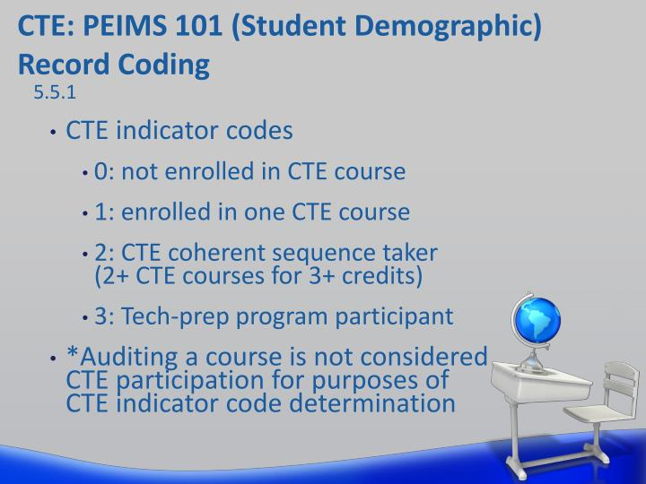 CTE: PEIMS 101 (Student Demographic) Record Coding
