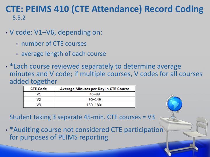 CTE: PEIMS 410 (CTE Attendance) Record Coding