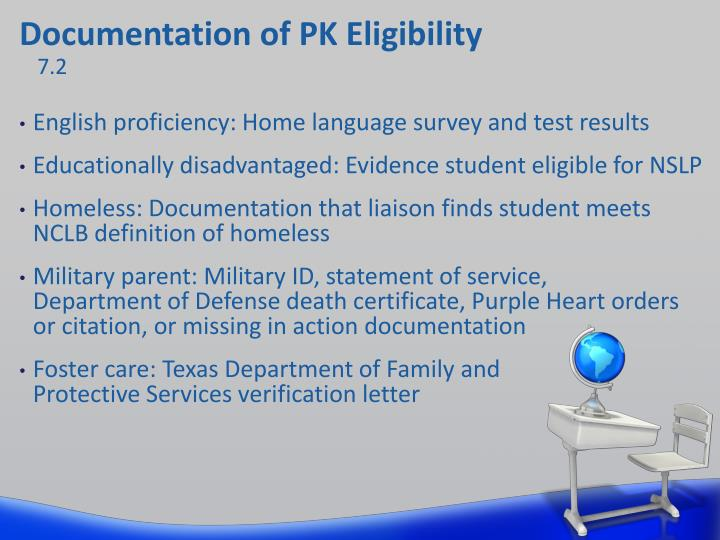 Documentation of PK Eligibility