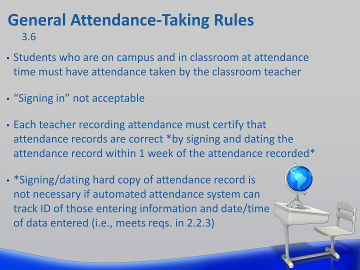 General Attendance-Taking Rules