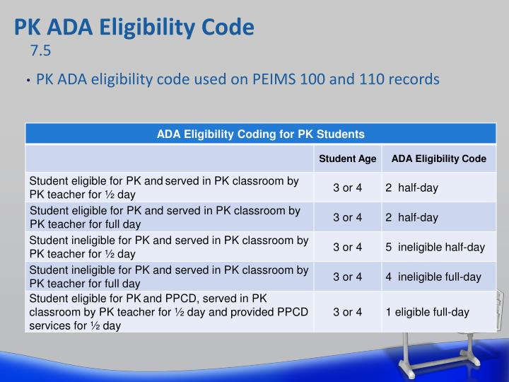 PK ADA Eligibility Code