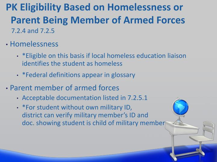 PK Eligibility Based on Homelessness or