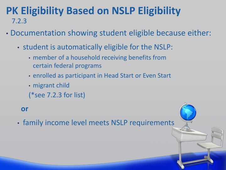 PK Eligibility Based on NSLP Eligibility