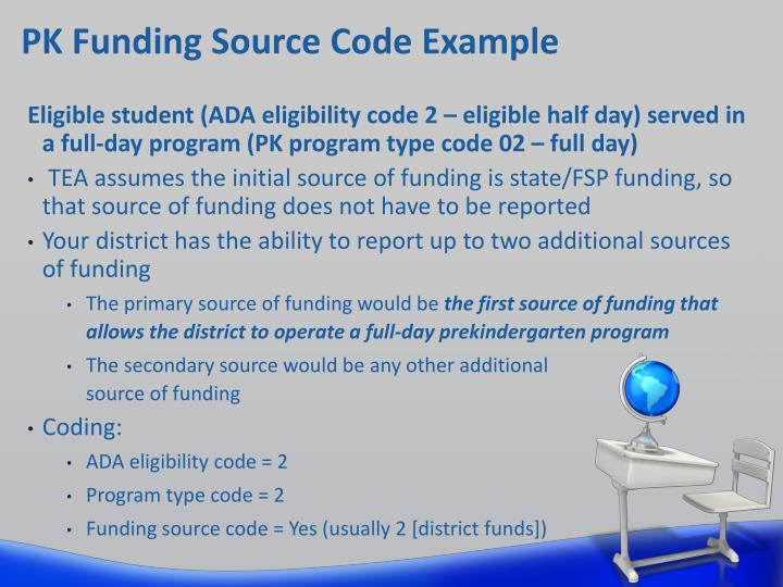 PK Funding Source Code Example