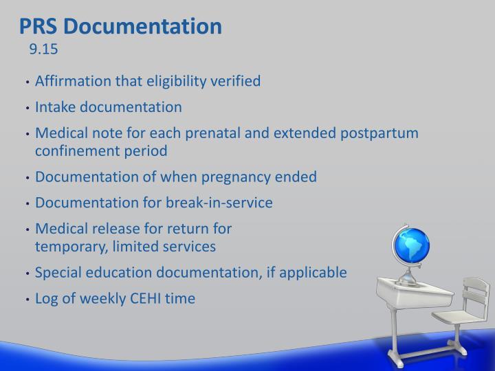 PRS Documentation