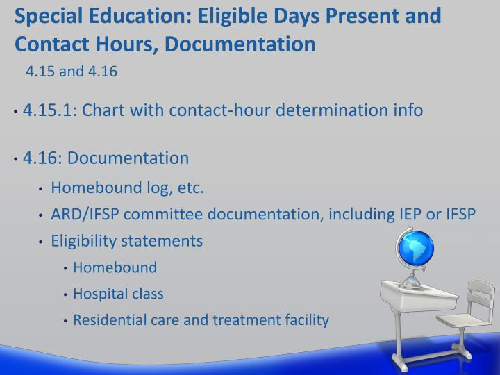 Special Education: Eligible Days Present and