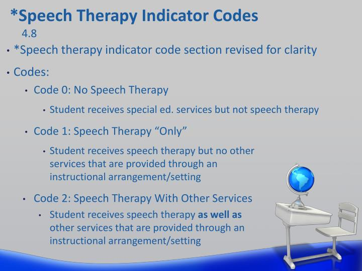 *Speech Therapy Indicator Codes
