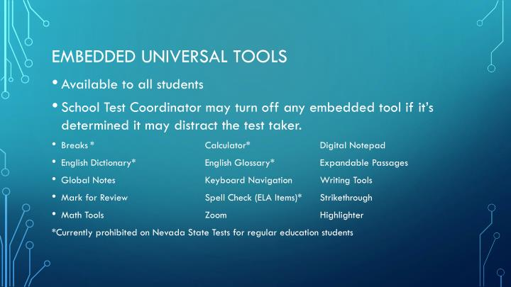 Embedded universal tools