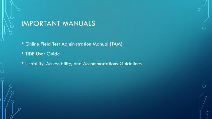 Important manuals