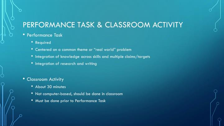 Performance task & classroom activity
