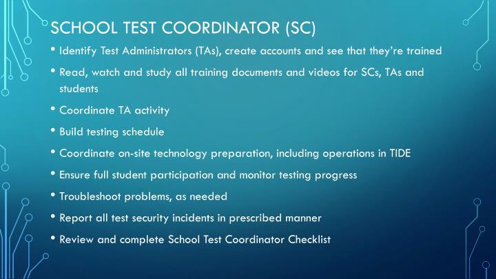 School Test Coordinator (SC)
