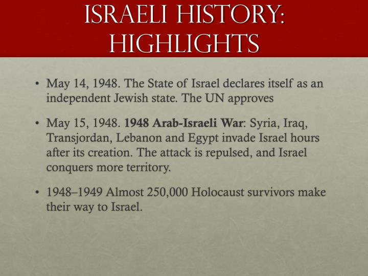 Israeli history:  Highlights