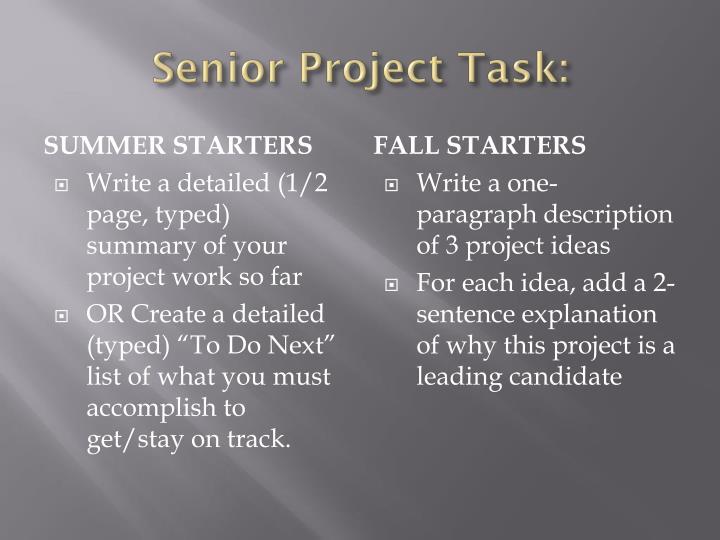 Senior Project Task: