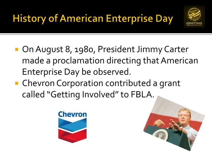 History of American Enterprise Day