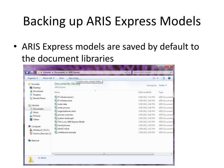 Backing up aris express models