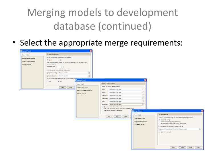 Merging models to development