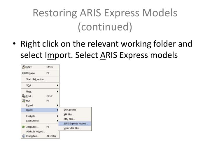 Restoring ARIS Express