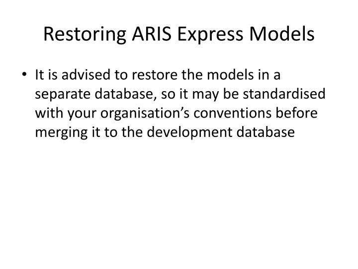 Restoring ARIS Express Models